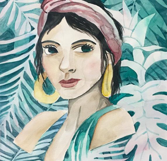 Portrait de femme à l'aquarelle