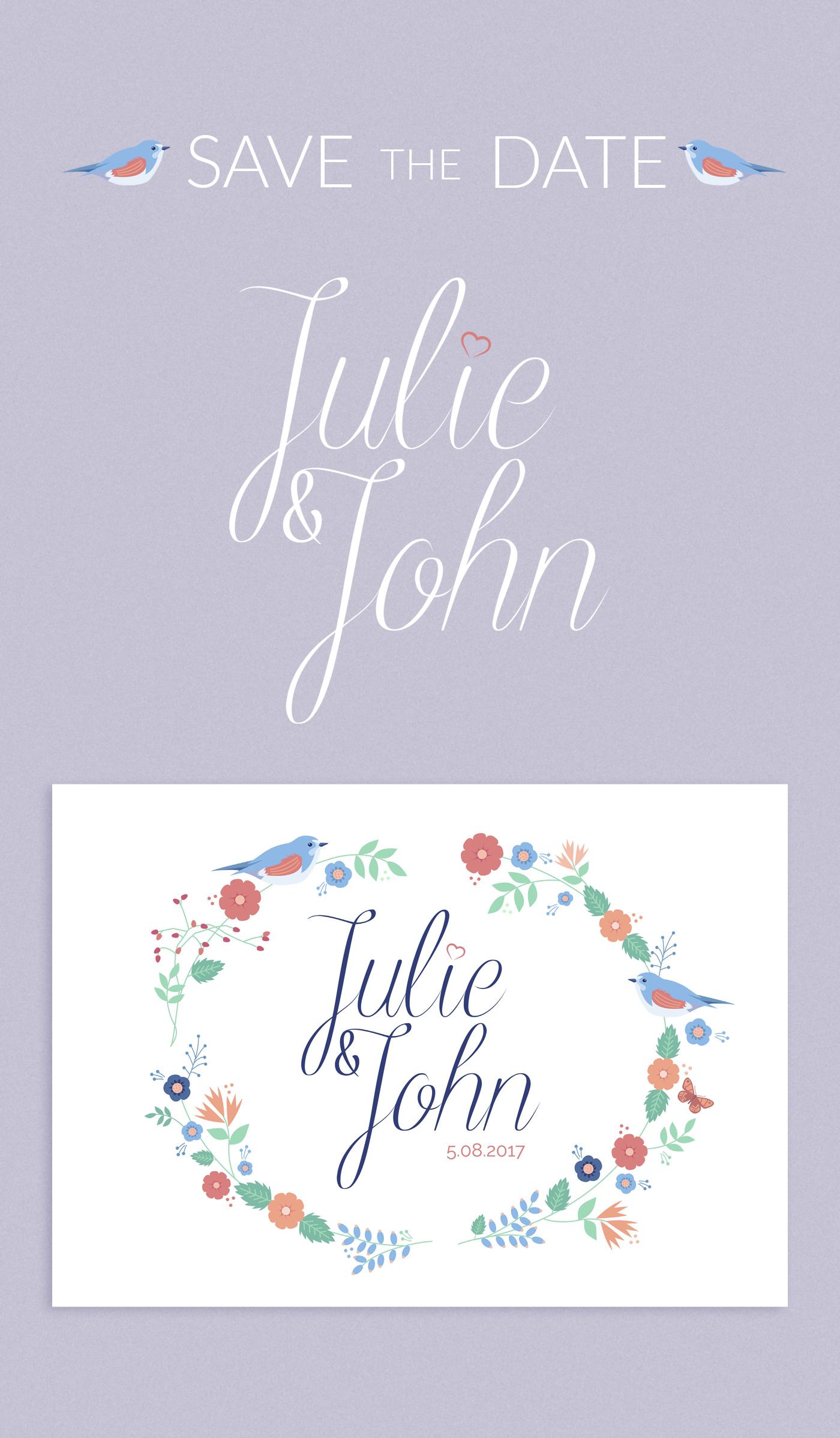 Faire part du mariage de Julie et john